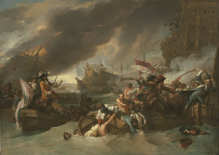 Бенджамин Уэст. Битва при Ла-Хоге. Холст, масло. 152,7 x 214 см, около 1778 года.