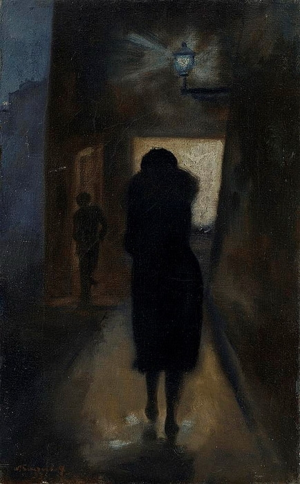 Н. Синезубов «Тёмная улица» 1933 г. Холст, масло. 50 х 31,5 см