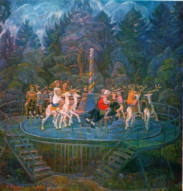 Валентина Лебедева «Детская карусель» 1983-1984 гг. Холст, масло. 170х160 см