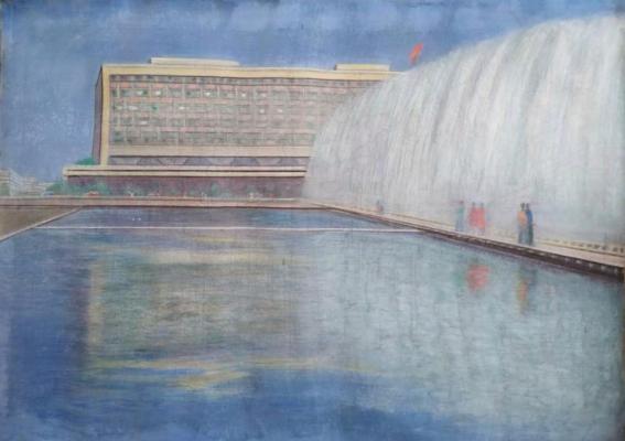 Соколов А. Д. «Дом Совета министров в Ташкенте» 1973 г., холст, масло, 120 x 180 см