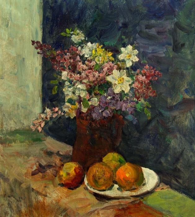 В.Г. Гремитских «Цветы и яблоки» Холст, масло; 62х56 см; Год неизвестен, предположительно конец 1960-х, начало 1970-х гг.