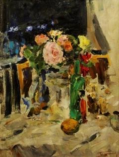 В.Г. Гремитских «Розы ночью» Картон, масло. 66х50 см 1971 год