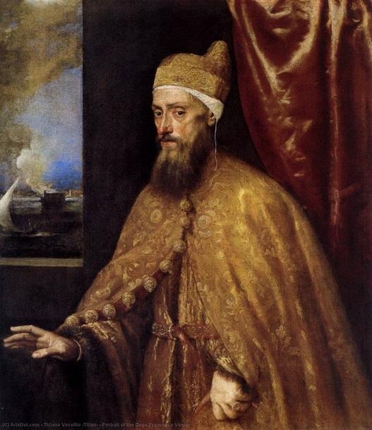 Тициа́н Вече́ллио «Портрет дожа Франческо Вениера» Холст, масло.