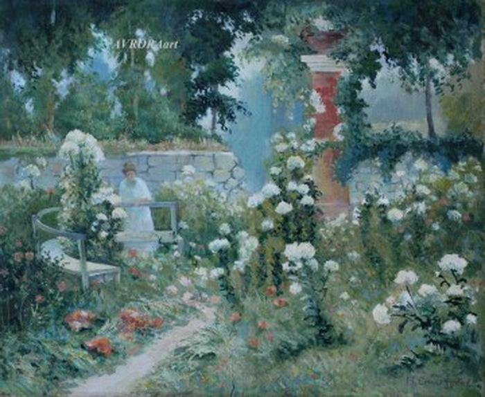Н. Синезубов «В саду (Сад белых гортензий)» 1920-е гг. Картон, темпера, 35,5х43,5 см