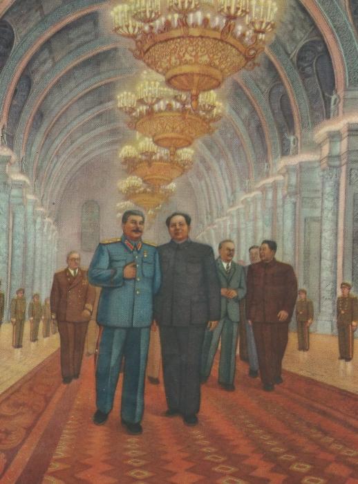 Ли Ци и Фынь Чжэнь  «Великая встреча»  Холст, масло. 1950 год