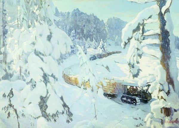 Аркадий Александрович Рылов. Трактор на лесных работах. 1934 г. Холст, масло.