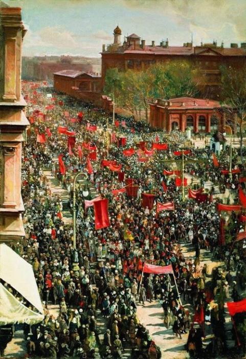 И.З. Бродский «Первомайская демонстрация на проспекте 25 октября» 89х61 см  1930 год.