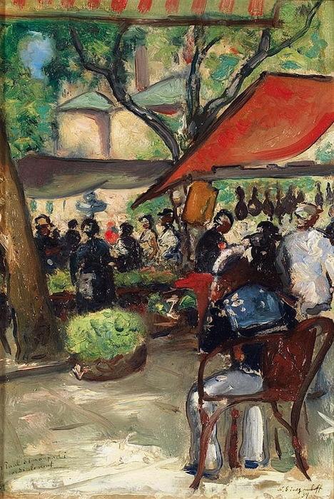 Н. Синезубов «Парижское кафе» (Place de marché En Corse) 1934 г. Картон, масло. 34,5x29 см