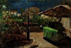 В.Г. Гремитских «Ночь. Площадь Свердлова.» Картон, масло. 49х70 см 1953 г.