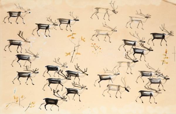 Иллюстрация Мая Митурича к книге Г. Снегирёва «Про оленей». Изд. «Детская-литература» 1967 г.