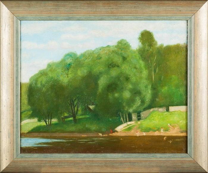 Н. Синезубов «Пейзаж с купальщицами» 1920-е гг. 35,5 х 44 см