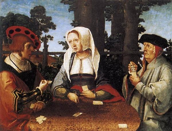 Лукас ван Лейден (Лука Лейденский) «Игра в карты» 1525 г. дерево, масло