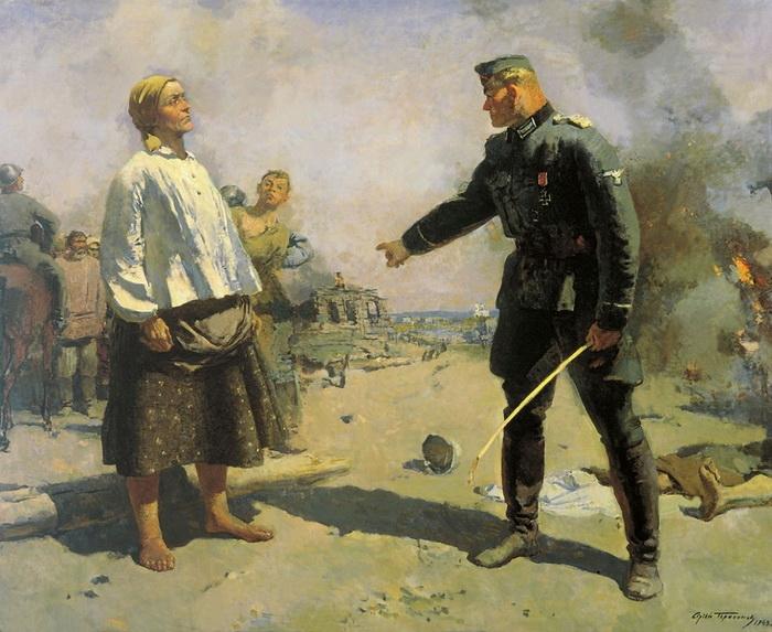 С.В. Герасимов. Мать партизана. Холст, масло. 184х232 см. 1943 г.