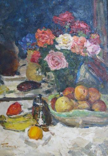 Натюрморт с розами. 1980 г. холст, масло. 78х57 см