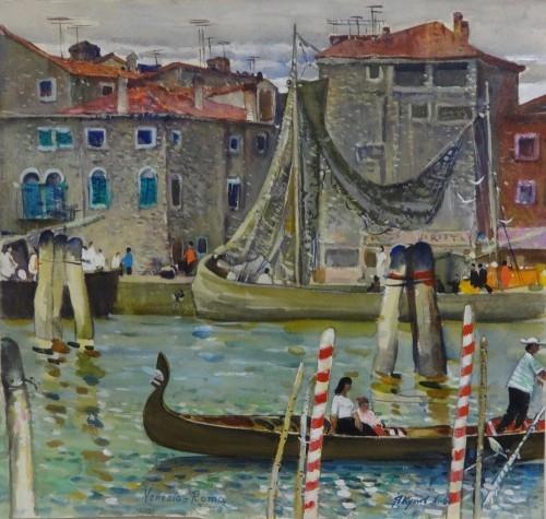 Харис Якупов «Венеция, Причалы», 1961 год, холст, масло, частное собрание.