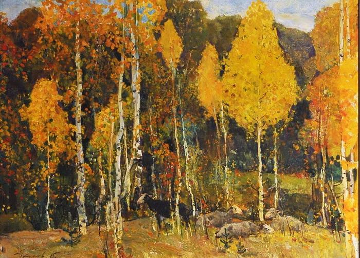 Харис Якупов «Осеннее кружево», 1960-е годы, холст, масло, частное собрание.
