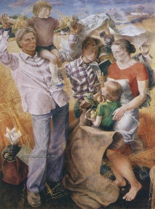 А.В.  Учаев  «Месяц хлебный». 1979. Х., м. 200х150, СГХМ им. А.Н. Радищева