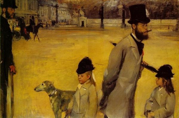 Эдгар Дега  «Портрет Лепика с дочерьми. Площадь Согласия.», 1875 г.