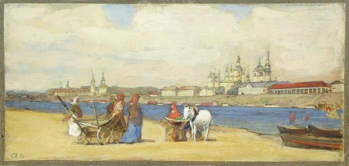 А.И. Вахрамеев. Великий Устюг. Набережная. Около 1914 г. Бумага на картоне, акварель, белила. 15,2 х 33 см. Вологодская областная картинная галерея.