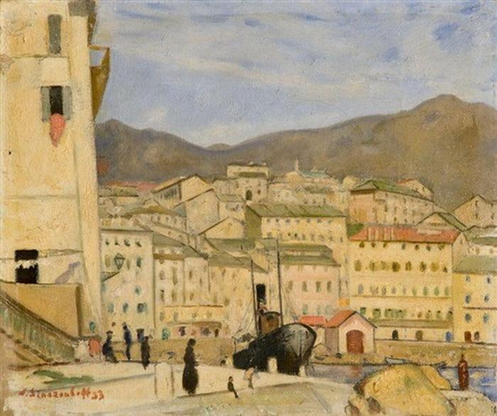 Н. Синезубов «Вид на Вильфранш-сюр-Мер» Франция, 1933 г. Холст, масло. 32,5х38 см