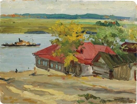 Михаил Куприянов. «Серпухов», 1951 год, картон, масло, 34 × 44,5 см., частное собрание.