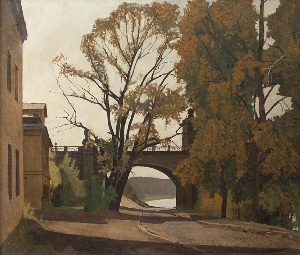 А.А. Жабский. Старый мост. 1983 г. Холст, масло. 60х70 см
