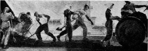 Валентин Васильевич Любимов. Асфальт. Xолст, темпера. 1964 г. (Репродукция из журнала «Художник» № 6, за 1964 г.)