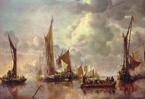 Ян ван де Капелле  «Морское затишье с кораблями»