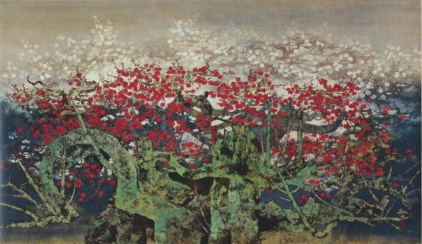 Тосио Хиракава  «Сливы» картина 86х153 1968 г.