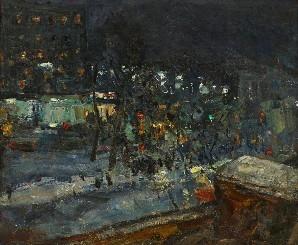 Ночная Москва.  1972 г. холст на картоне, масло. 70,2 х 85,0 см