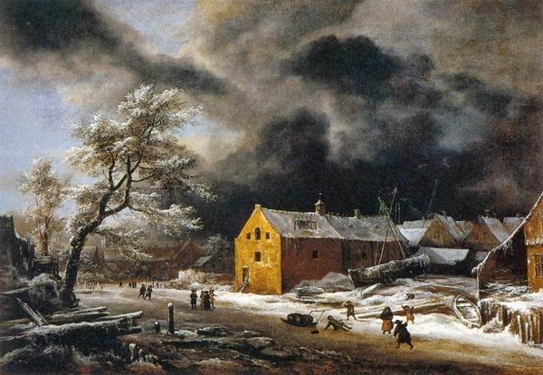 Якоб ван Рейсдаль  «Зимний пейзаж» Холст, масло.