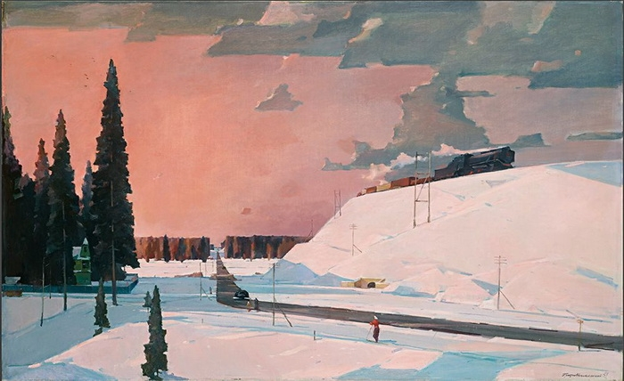 Георгий Нисский «Февраль. Подмосковье.»  Холст, масло. 1957 г.