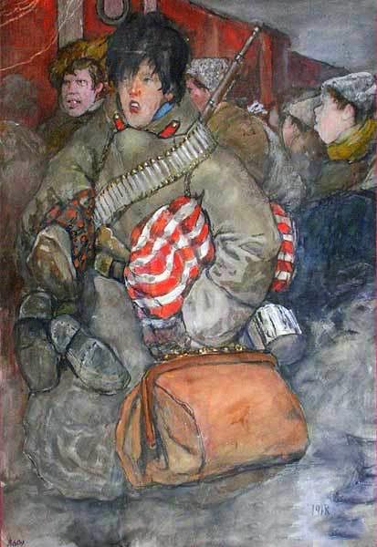 А.И. Вахрамеев. Демобилизованные. 1918 г. Пензенская областная картинная галерея им. К.А. Савицкого.