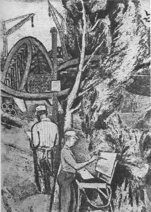 Ю. Атланов Из серии «Будни романтиков» 1979 г. Цветная гравюра на картоне