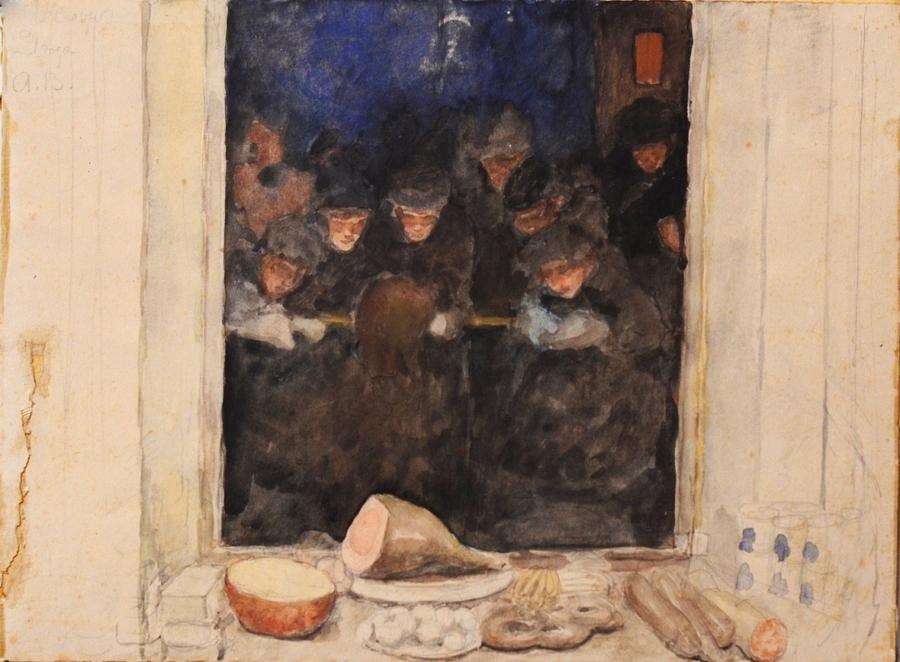 А.И. Вахрамеев. У витрины первого гастронома. 1921. Бумага, гуашь. Пензенская областная картинная галерея им. К.А. Савицкого.
