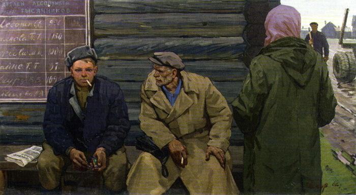 Борис Николаевич Поморцев. Тысячники. 1963 г. Холст, темпера. 114х200 см  Музей изобразительных искусств Республики Карелия.