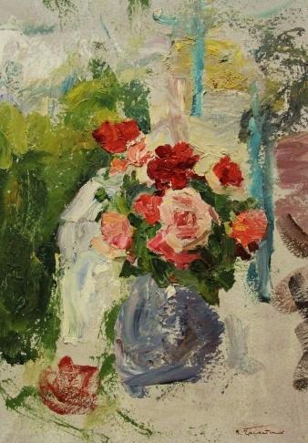 В.Г. Гремитских «Розы в синей вазе» картон, масло; 59,5х40; 1967 год