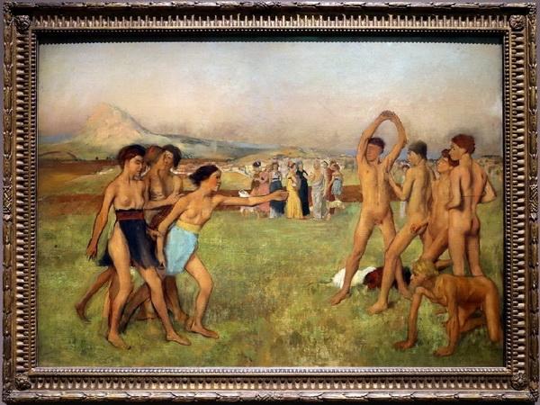 Эдгар Дега «Спартанки, вызывающие на состязание спартанских юношей» 1860 г.