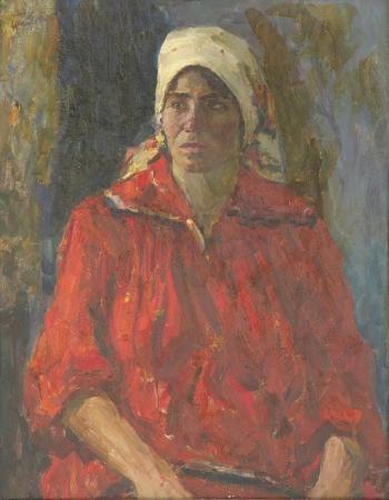 Портрет колхозницы. 1974 г. двп, масло. 91х70 см