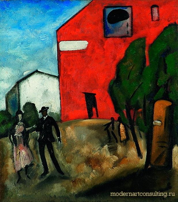Н. Синезубов «Синий день (Красный дом)» 1920 г. Холст, масло. 53x46 см Ярославский художественный музей