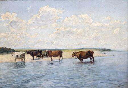 Авель Левитан «Коровы у реки»