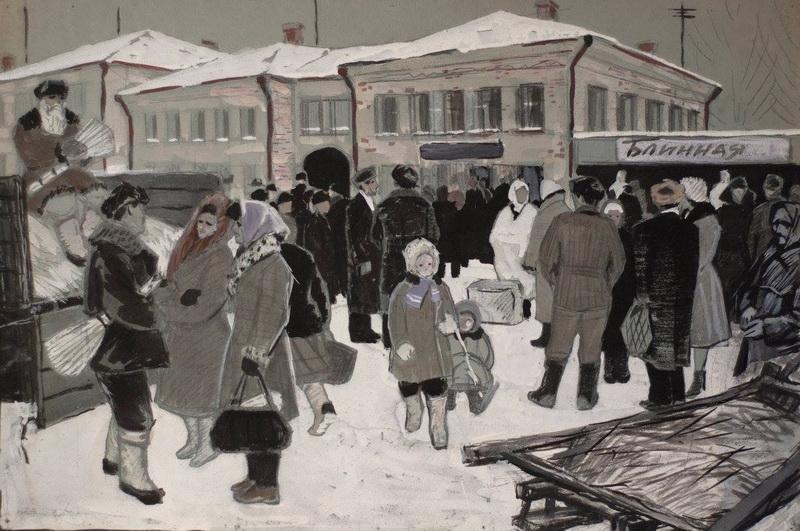 Борис Яковлевич Аверьянов «Город Руза» Гуашь. 43х65 см 1965 г.