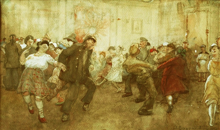 А.И. Вахрамеев. Танцы. 1920 г. Бумага на картоне, гуашь. 30,1х50,3 см. Пензенская областная картинная галерея им. К.А. Савицкого.