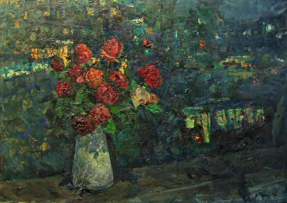 """Владимир Гремитских """"Розы. Ночь. Масловка.""""  холст, масло; 86х122.5; 1958 год"""