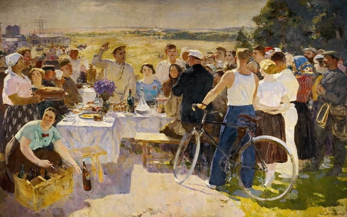 С.В. Герасимов. Колхозный праздник. Холст, масло. 234х372 см. 1937 г.