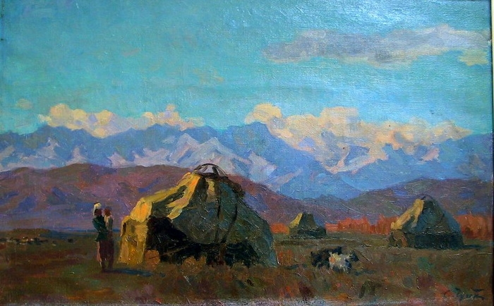Семён Афанасьевич Чуйков. Осеннее утро в Киргизии. Картон, масло. Астраханская картинная галерея.