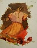В.Г. Гремитских 'Танец' картон, масло; 30х21; 1950-е годы