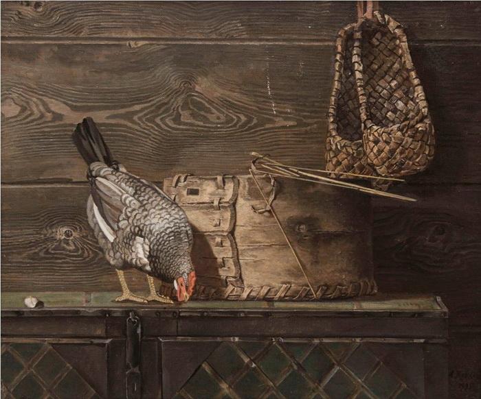 А.А. Жабский. Натюрморт с курицей. 1995 г. Холст, масло. 60х70 см
