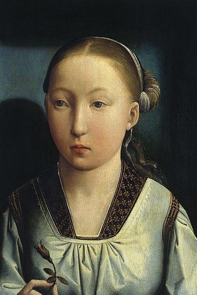 Хуан де Фландес Портрет девушки, возможно, Екатерины Арагонской в возрасте 11 лет, или её старшей сестры Иоанны Кастильской ок. 1496 г.