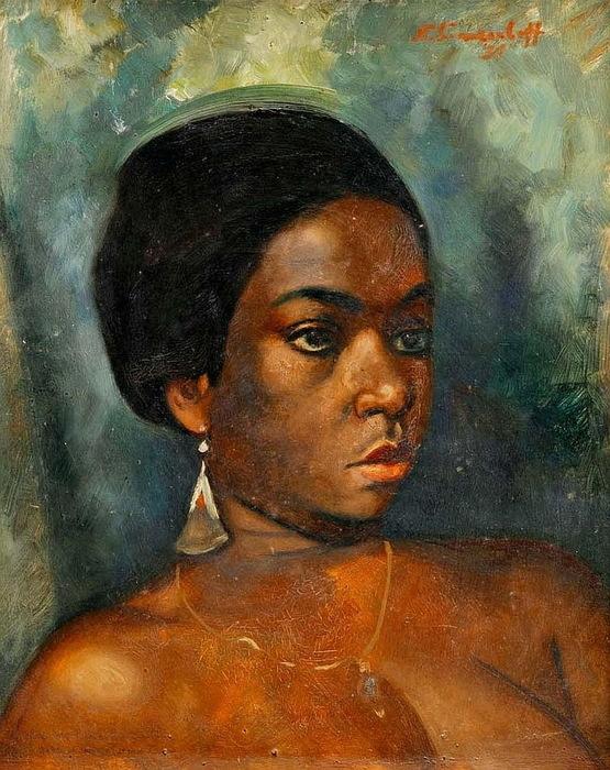 Н. Синезубов «Портрет африканской девушки с золотой сережкой» 1931 г. Картон, масло. 40х33 см